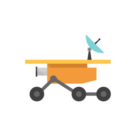 Space rover icon in flat color style. Vehicle, exploration, planet surface Illustration