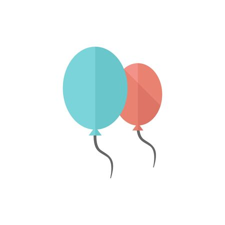 birthday party: Balloon icon in flat color style. Object celebration rubber d