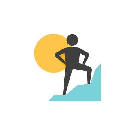 Rock climbing icon in flat color style. Sport adventure mountain sunset sunrise