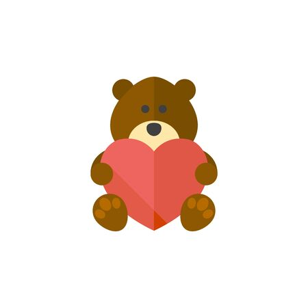 Teddy holding heart shape icon in flat color style. Valentine love couple present