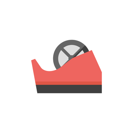 design office: Tape dispenser icon in flat color style. Office tool work supplies desktop