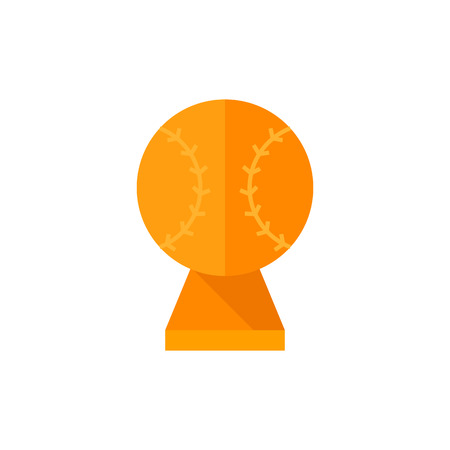 Baseball trophy icon in flat color style. Sport champion winner team prize