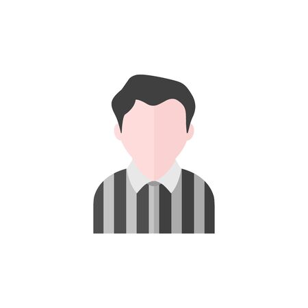 Referee avatar icon in flat color style. Sport football soccer competition game match judge