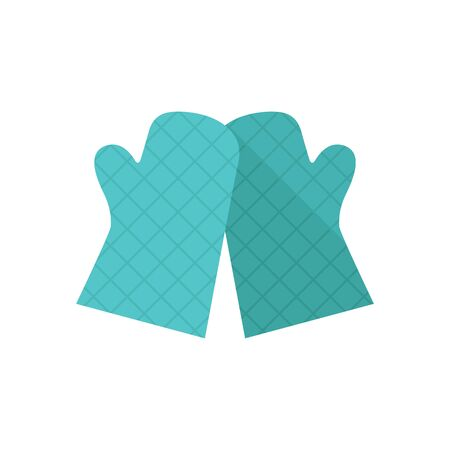 hot: Cooking glove icon in flat color style. Kitchen pot oven holder hand