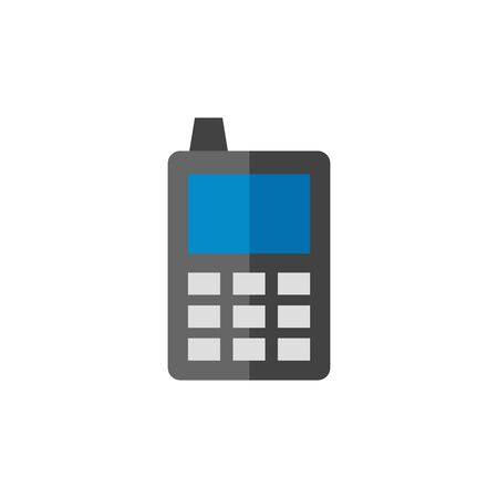 contact: Cell phone icon in flat color style. Communication device keypad vintage Illustration