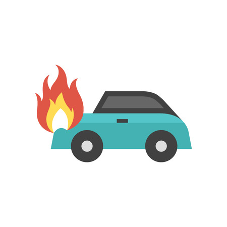 Car on fire icon in flat color style. Automotive transportation accident accident burned insurance claim