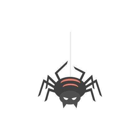 Spider icon in flat color style. Animal arachnid spooky Halloween