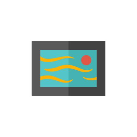 artwork: Painting frame icon in flat color style. Artwork exhibition