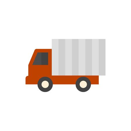 car: Truck icon in flat color style. Freight, transport, logistic, delivery Illustration