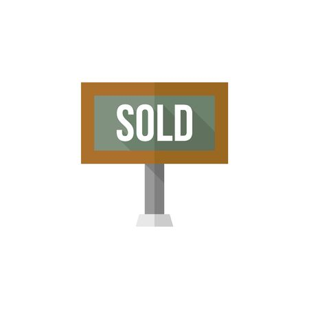 taken: Sold out sign icon in flat color style. Property house home selling building mortgage