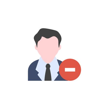 Businessman with minus sign icon in flat color style. Business office team remove fired move