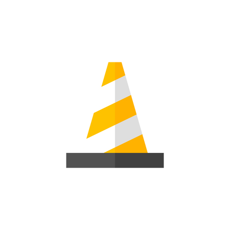 security: Traffic cone icon in flat color style. Road construction warning alert internet web page under construction