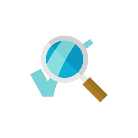Magnifier check mark icon in flat color style. Zoom find locate approved decisions voting