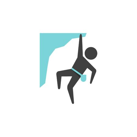 thrill: Rock climbing icon in flat color style. Extreme sport adventure thrill adrenaline vertical free