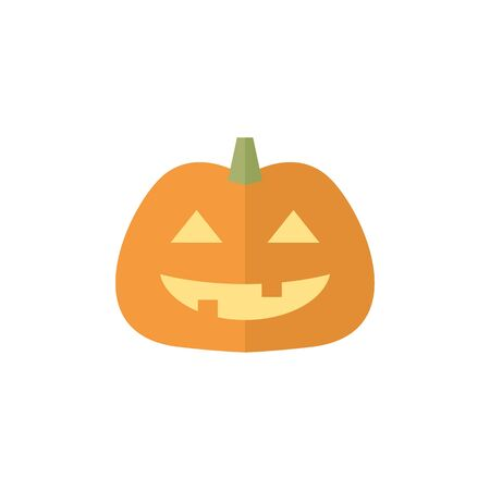 Pumpkin icon in flat color style. Holiday object spooky Halloween October season