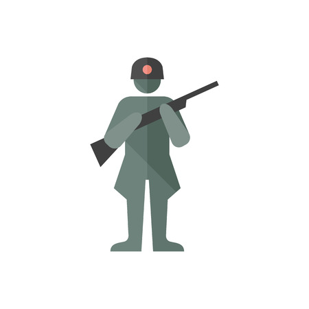 World War army icons in flat color style. Weapon riffle uniform