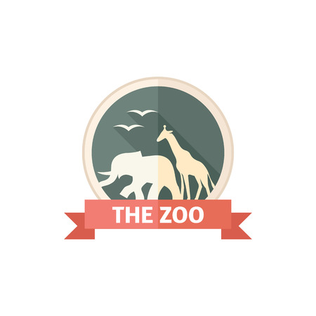 Zoo gate icon in flat color style. Animal park jungle safari