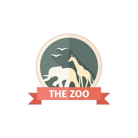 funny: Zoo gate icon in flat color style. Animal park jungle safari