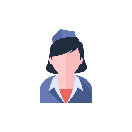 Stewardess avatar icon in flat color style. Transportation aviation flight attendant service