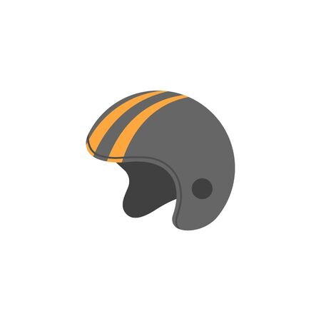 Motorcycle helmet icon in flat color style. Sport protection safety head