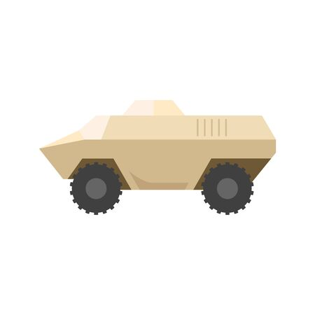 Armored vehicle icon in flat color style. Military army transportation bullet proof