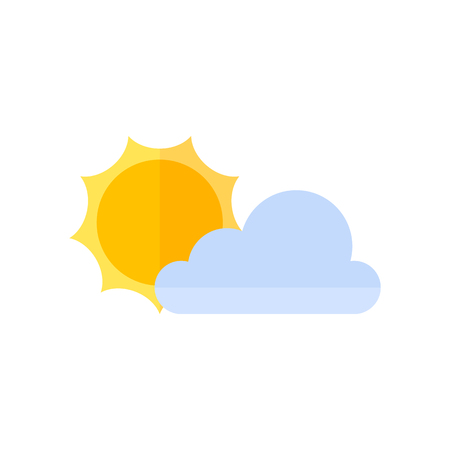 air: Weather forecast partly sunny icon in flat color style. Illustration