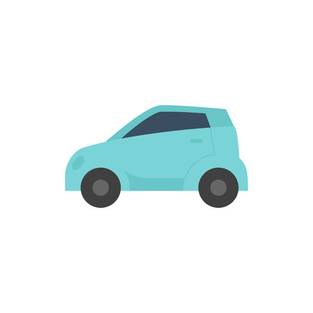 Green car icon in flat color style. Low emission, electric vehicle Illustration