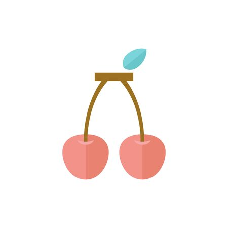 Cherry icon in flat color style. Food fruit healthy lifestyle diet sweet cake bread bakery topping decoration