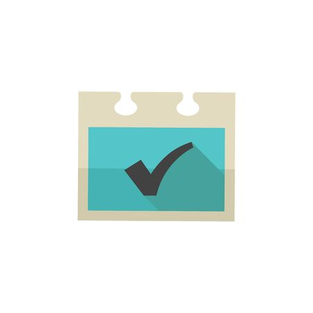 briefing: Checkmark icon in flat color style. Events organizer reminder schedule