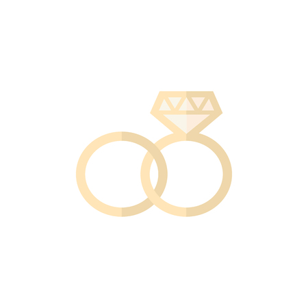 Wedding ring icons in flat color style.