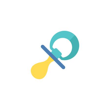 Icono de chupete en estilo de color plano. Comodín para bebé muñeco de pezones niño tranquilo Ilustración de vector