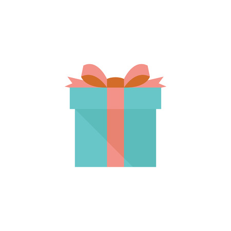 christmas decorations: Gift box icon in flat color style. Prize birthday Christmas holiday