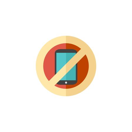 restriction: Phone restriction area icon in flat color style. Smartphone prohibited Illustration