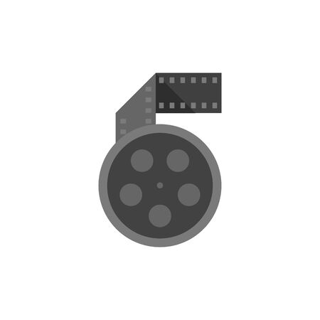 clouds: Cinema movie reel icon in flat color style.