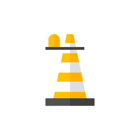 Traffic cone icon in flat color style. Road construction warning alert internet web page under construction