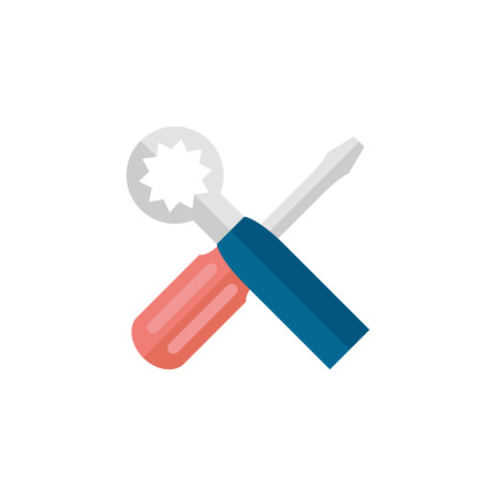 Bicycle tools icon in flat color style. Wrench screw driver mechanic setting maintenance professional Illustration