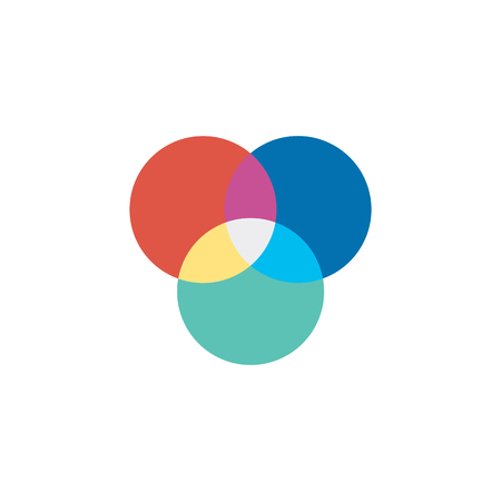 Color wheels icon in flat color style. Vector illustration.