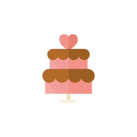Wedding cake icons in flat color style. Romantic married party dessert