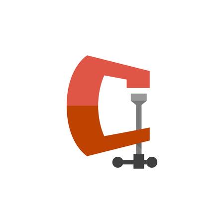 Clothes peg icon in flat color style. Clothes pin clamp