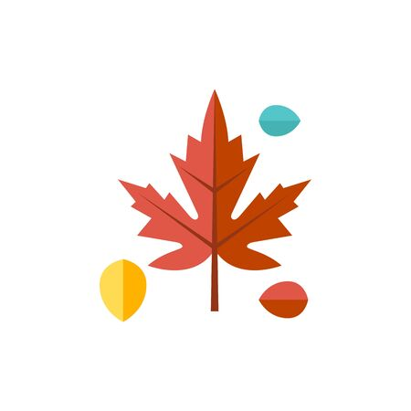 fall leaves: Maple leaf icon in flat color style. Autumn fall Canada