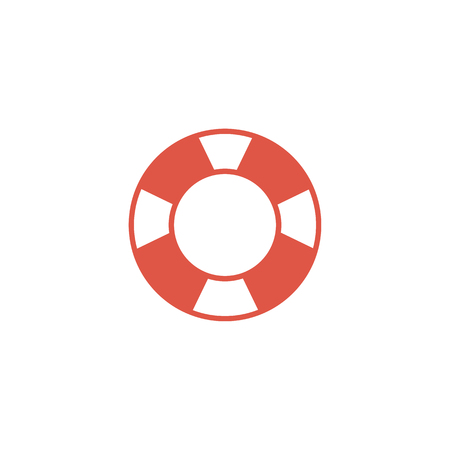 color ring: Ring buoy icon in flat color style. Safety equipment sea swimming water drowning