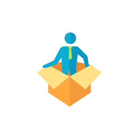 Businessman challenge icon in flat color style. Business metaphor man exit boundary out of the box Illustration