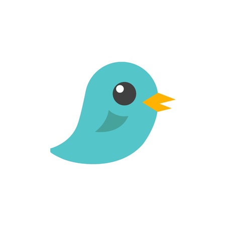 online: Bird icon in flat color style. Tweet social media networking promotion chirps
