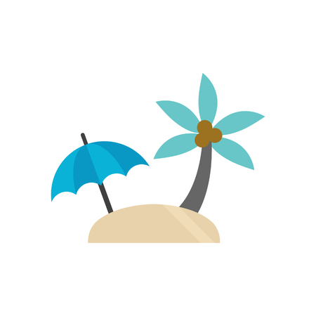 Island icon in flat color style. Beach sea tropical travel resort Illustration