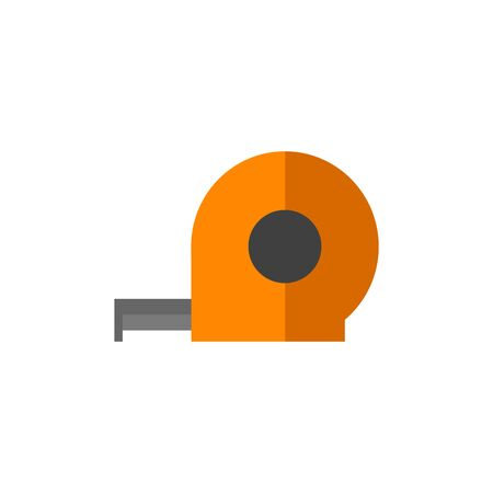 Measure tape icon in flat color style. Construction tool instrument length renovation Illustration