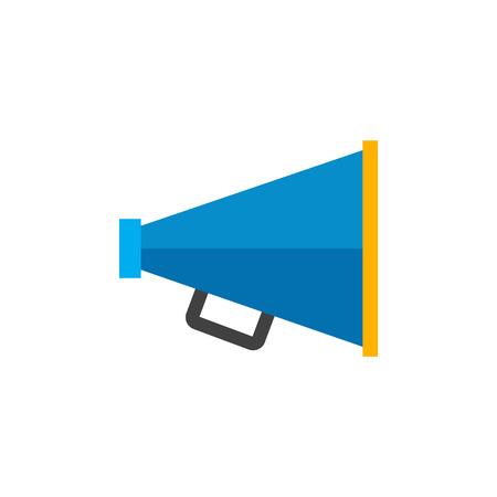 mobile website: Loudspeaker icon in flat color style. Loudspeaker scream movie director