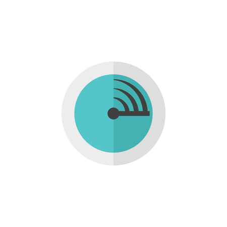 waves: Radar icon in flat color style. Instrument detector military enemy threat distance calculation