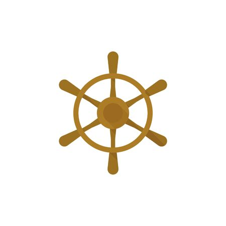 helm: Ship steer wheel icon in flat color style. Transportation sea navigate