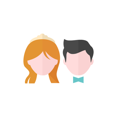 happy woman: Bride and groom icons in flat color style. Married couple newlywed