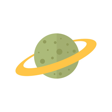 Planet Saturn icon in flat color style. Plasma, belt, satellite Illustration